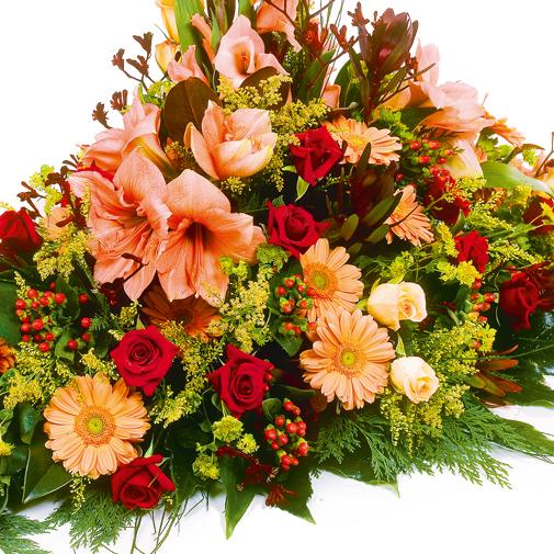 "Fleurs deuil Dessus de cercueil ""tradition"" multicolore"