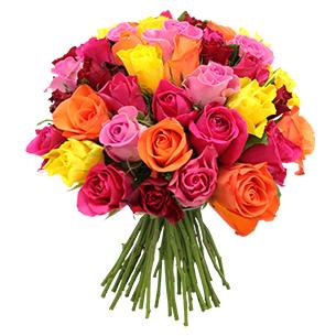 Bouquet de roses Brassée de roses multicolores +10 roses offertes Code Promo