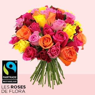 Bouquet de roses Brassée de roses multicolores Max Havelaar Journée internationale de l'Amitié