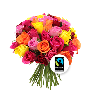 Bouquet de roses Brassée de roses multicolores Max Havelaar Amour