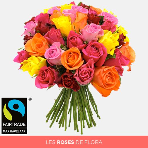 Bouquet de roses Brassée de roses multicolores + 10 roses offertes Max Havelaar