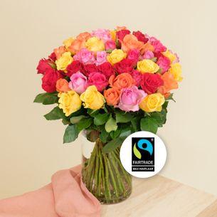 Bouquet de roses Brassée de roses multicolores Max Havelaar Anniversaire