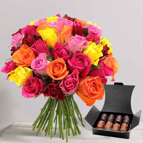 Fleurs et cadeaux Brassée de roses et son ballotin de chocolats