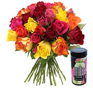 Brassee de roses et son the noir parfume FAUCHON - interflora