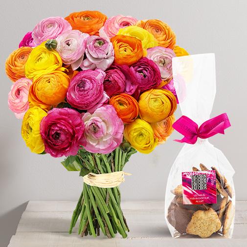 Fleurs et cadeaux Brassée de renoncules et ses Biscuits Fauchon