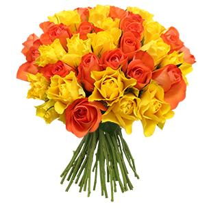 Bouquet de roses jaunes et orange +10 roses offertes - interflora