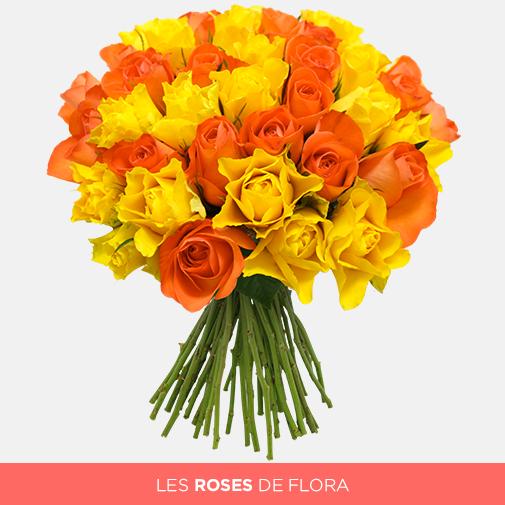 Bouquet de roses Brassée de roses jaunes orange + 10 roses offertes