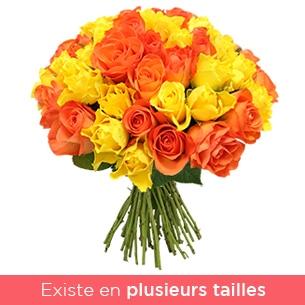 Brassee de roses jaunes et orange - interflora