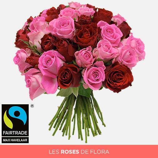 Bouquet de roses Brassée de roses roses et rouges équitables