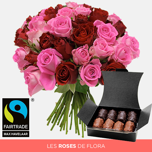 Fleurs et cadeaux Brassée de roses roses et rouges et son ballotin de chocolats offert