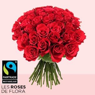 Bouquet de roses Brassée de roses rouges Max Havelaar