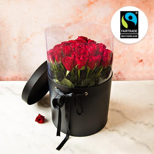 Bouquet de fleurs Brassée de roses rouges et sa boîte à chapeau