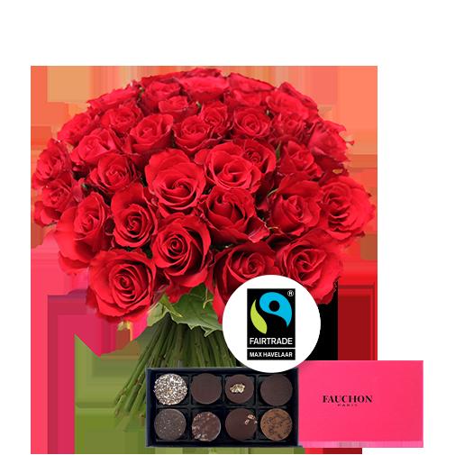 Fleurs et cadeaux Brassée de 40 roses rouges et son écrin de chocolats FAUCHON
