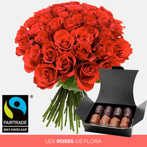 Fleurs et cadeaux Brassée de roses rouges et son ballotin de chocolats offert