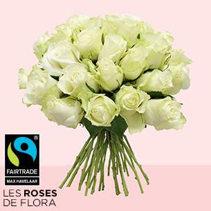 Bouquet de roses Brassée de roses blanches Max Havelaar Félicitations