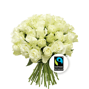Bouquet de roses Brassée de roses blanches Max Havelaar Amour