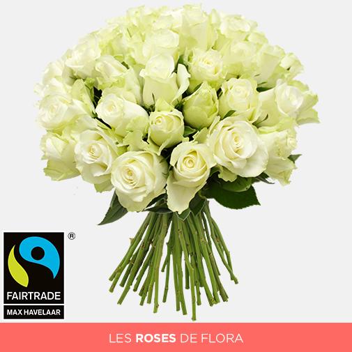 Bouquet de roses Brassée de roses blanches + 10 roses offertes Max Havelaar