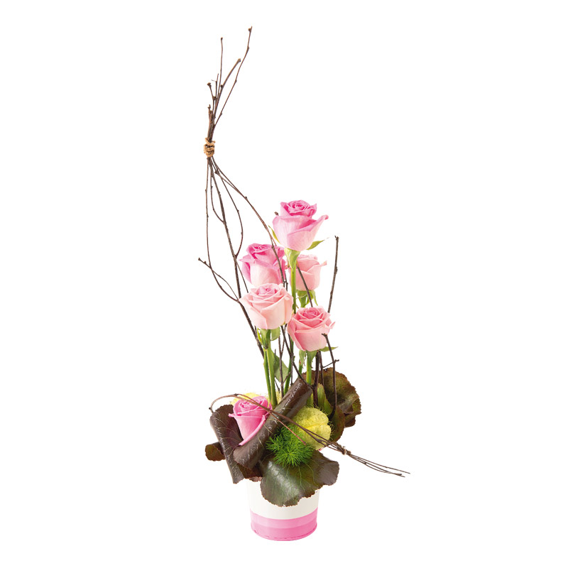 composition originale de roses rose p le interflora. Black Bedroom Furniture Sets. Home Design Ideas
