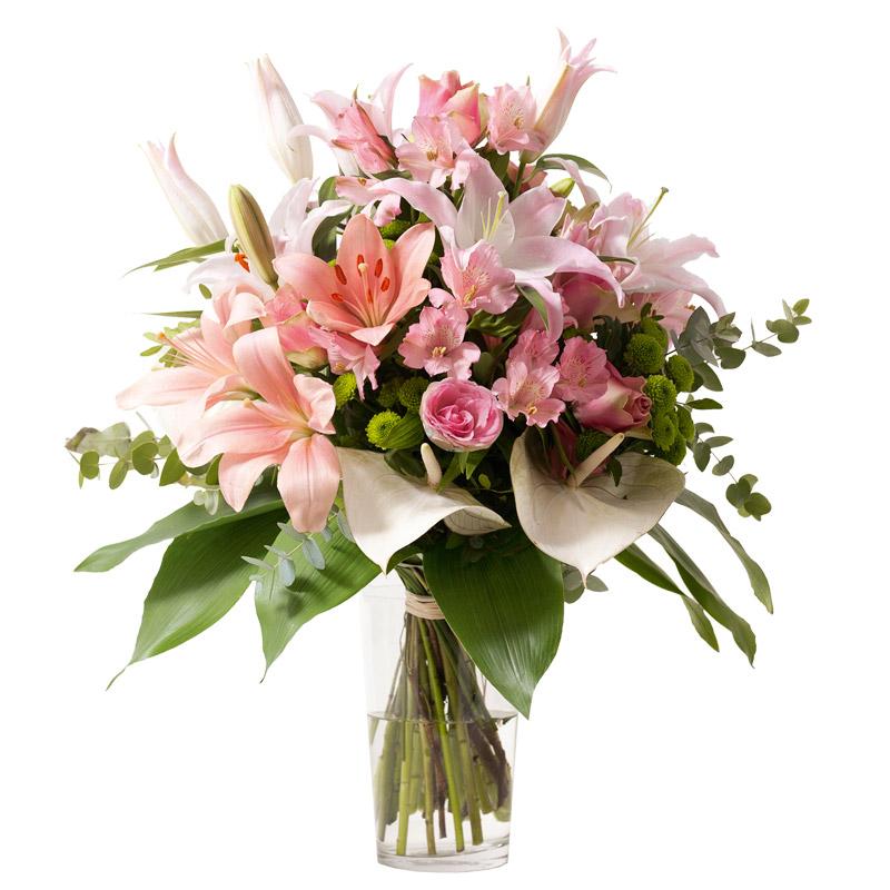 bouquet lys et rose bouquet chic rose clair interflora. Black Bedroom Furniture Sets. Home Design Ideas