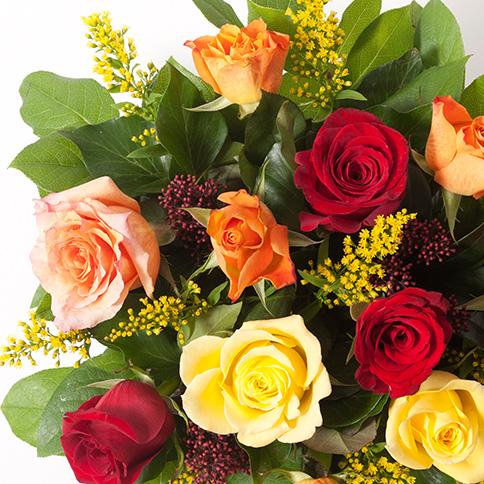 Bouquet de roses rouges orange et jaunes bouquet festif for Bouquet de fleurs orange et jaune