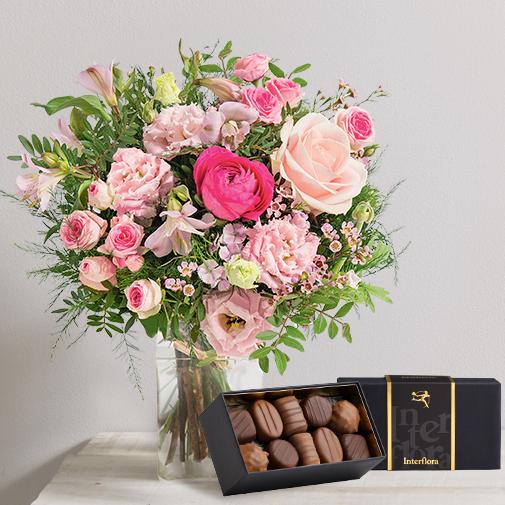 Bouquet de fleurs Tourterelle et son écrin de chocolats