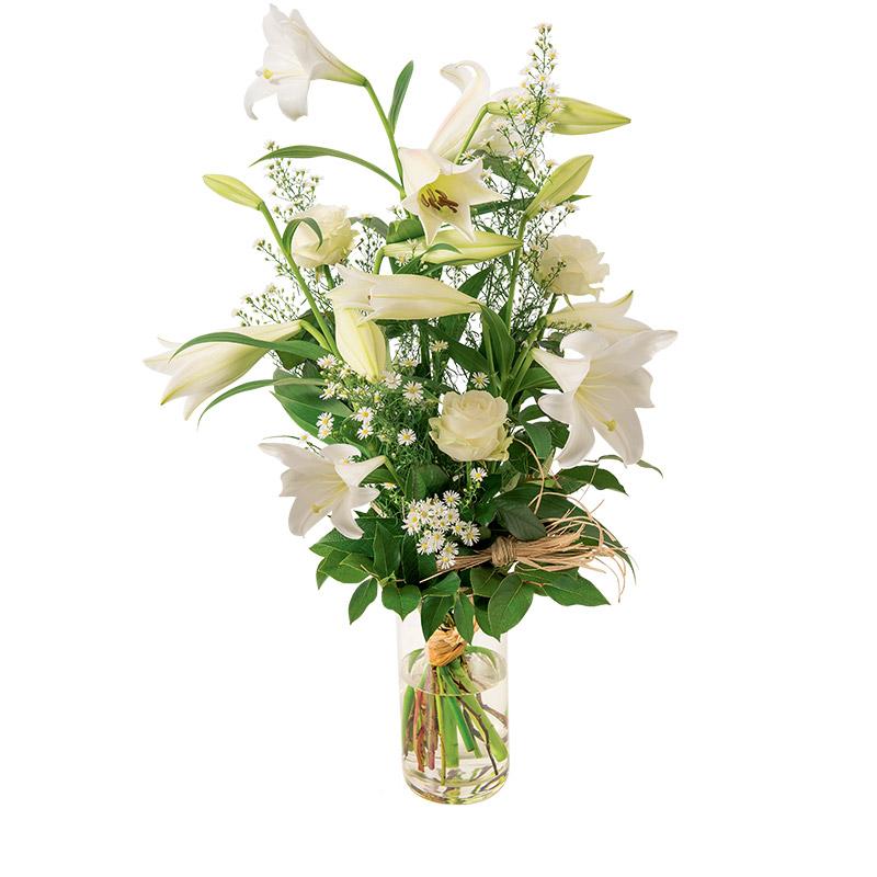 bouquet de fleurs lys blanc et rose blanche interflora. Black Bedroom Furniture Sets. Home Design Ideas