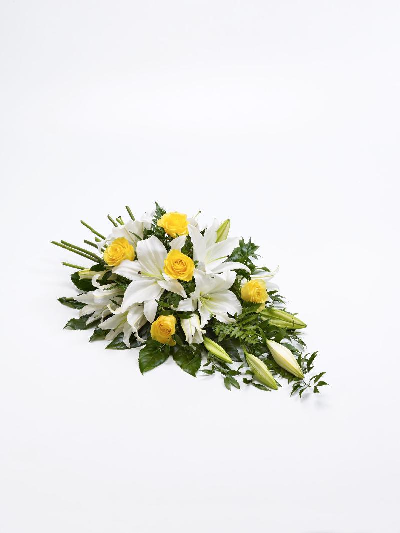 Bouquet de fleurs ROSE AND LILY SPRAY - YELLOW AND WHITE