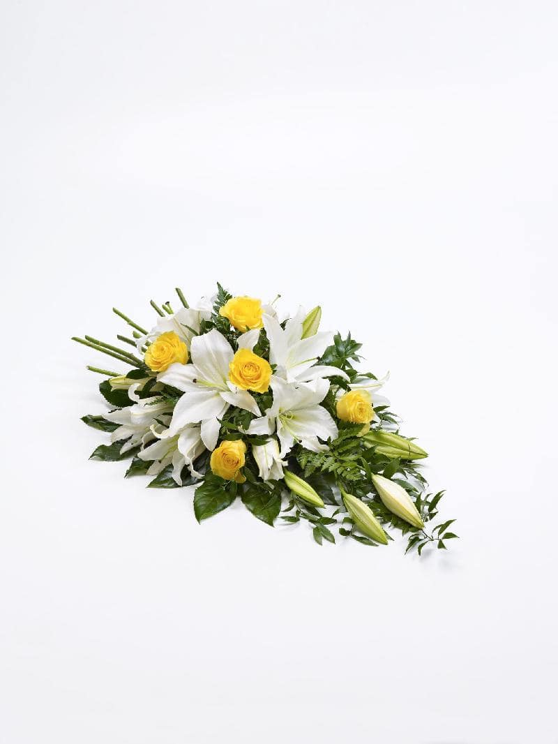 ROSE AND LILY SPRAY - YELLOW AND WHITE