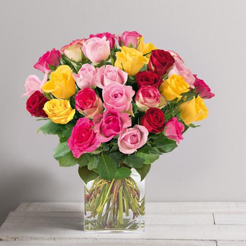 Bouquet de roses Brassée de roses multicolores