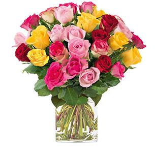Brassee de 30 roses multicolores - interflora