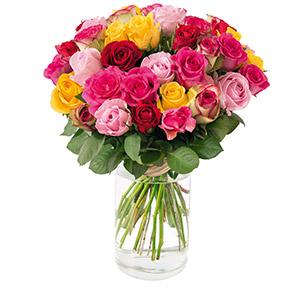 Brassee de 40 roses multicolores - interflora