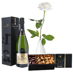 Fleurs et cadeaux Rose blanche, son champagne Devaux et son écrin d'amandes gourmandes Fête des grands-pères