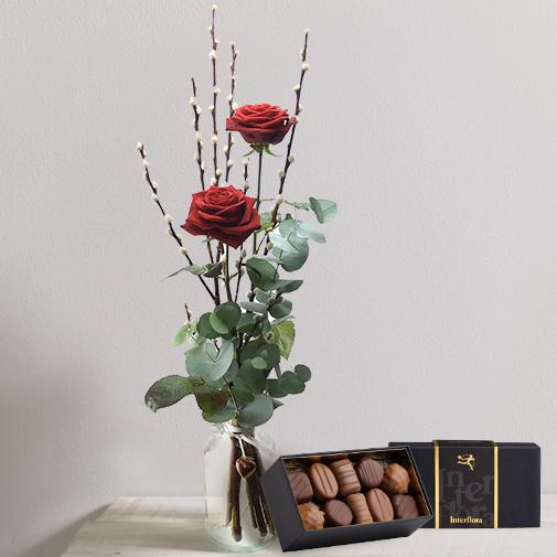 Fleurs et cadeaux Duo d'amour et son écrin de chocolats
