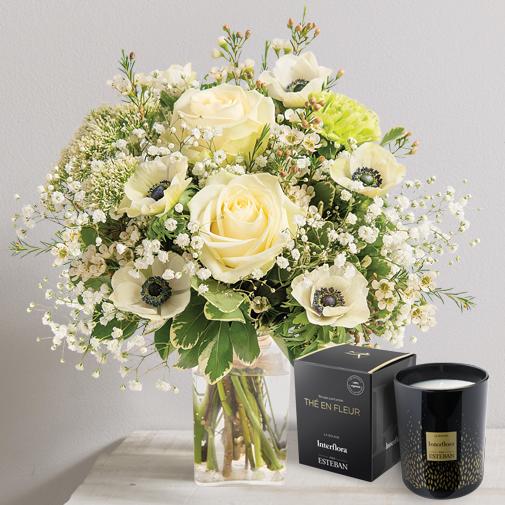 Fleurs et cadeaux Amour absolu et sa bougie parfumée