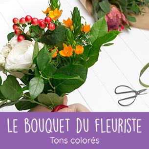 Bouquet de fleurs Bouquet du fleuriste<br>Tons colorés Fleurs à petits prix