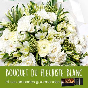 Bouquet Du Fleuriste Blanc Et Ses Amandes Au Chocolat