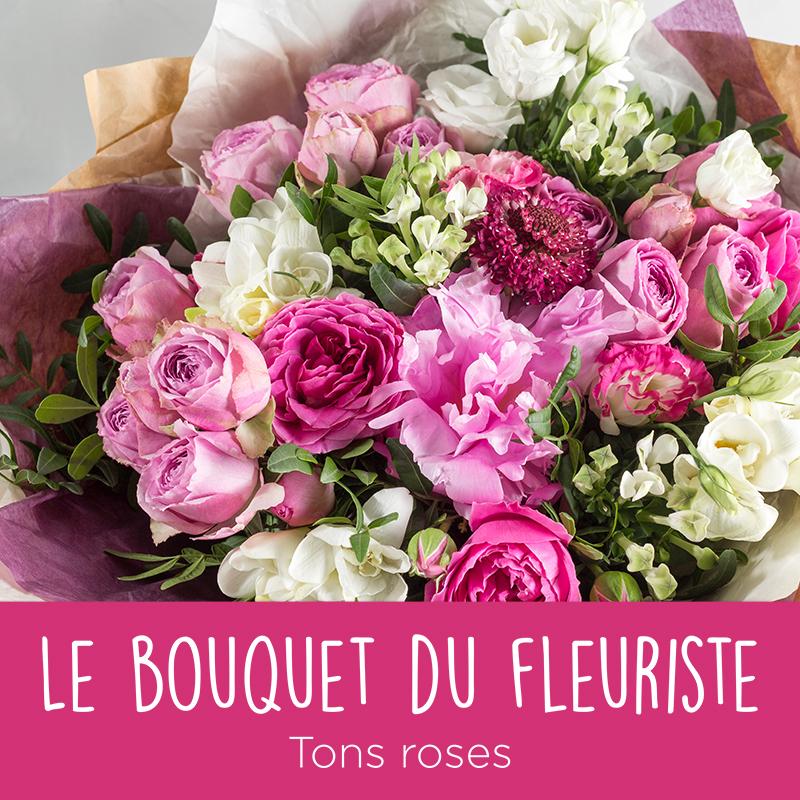 Bouquet du fleuriste dans les tons de roses interflora for Prix bouquet de rose fleuriste