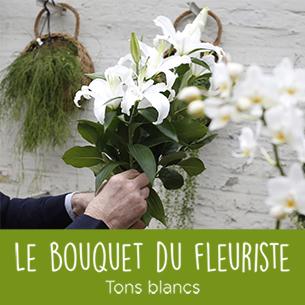 Bouquet de fleurs Bouquet du fleuriste tons blancs Fête des Grands-Mères