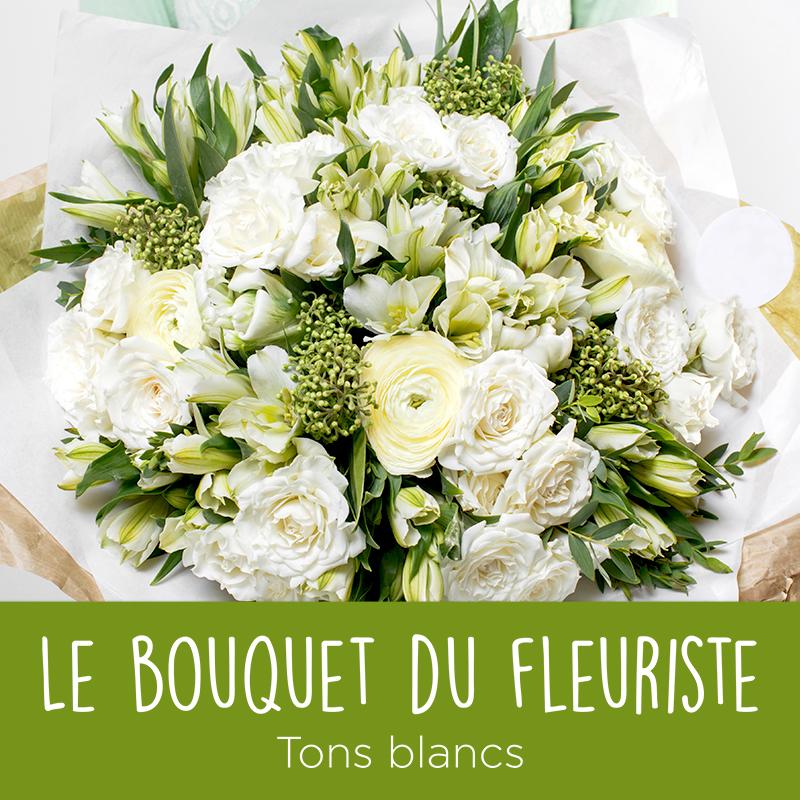Bouquet du fleuriste dans les tons blancs interflora for Fleuriste fleurs