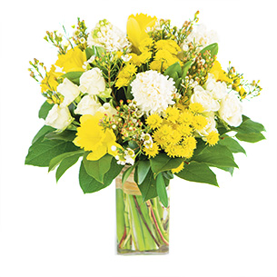 Bouquet de fleurs Câline et son vase offert