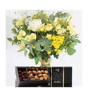 Bouquet de fleurs Cristal et ses amandes au chocolat Mariage