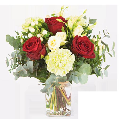 Bouquet de fleurs Déclaration et son vase