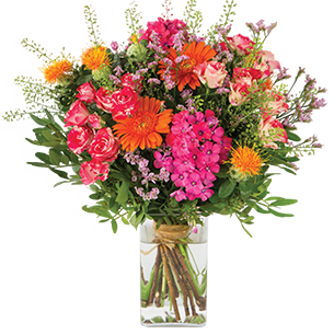 Bouquet de fleurs Fantaisie et son vase offert Journée internationale de l'Amitié