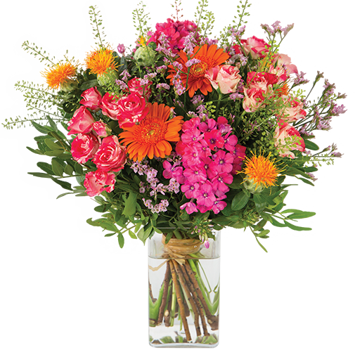 Bouquet de fleurs Fantaisie et son vase offert