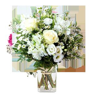 Bouquet de fleurs Jade et son vase offert Remerciements