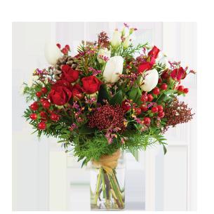 Bouquet de fleurs Magie de noël et son vase offert