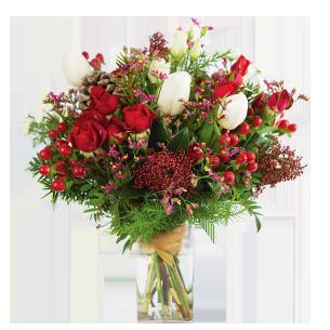 Bouquet de fleurs Magie de noël et son vase offert Code Promo