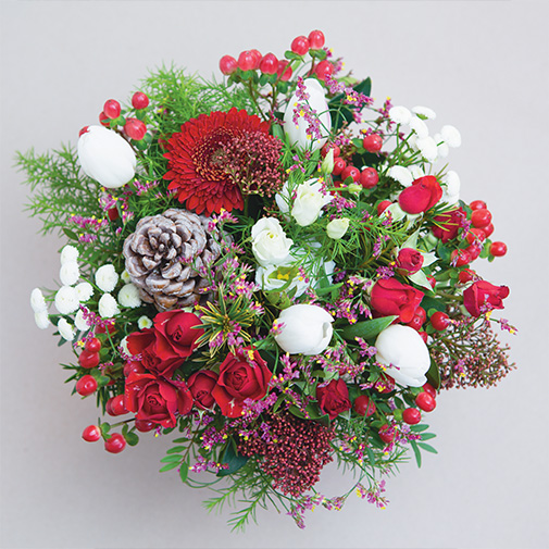 Bouquet de fleurs Meilleurs Voeux et son vase offert