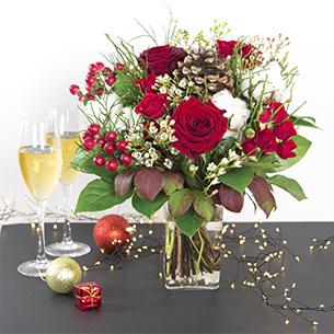 Bouquet de fleurs Magie de noël et son vase offert Anniversaire