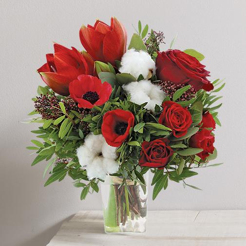 Bouquet de fleurs Magie de noël et son vase
